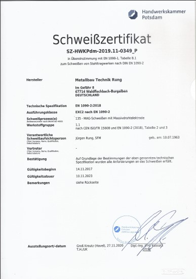 Schweiß-Zertifikat