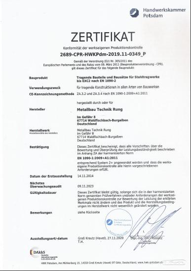 Zertifikat Produktionskontrolle
